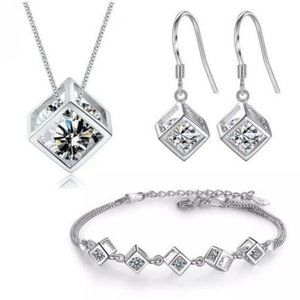 NEW [Set of 3] 925 Sterling Silver Diamond Cube D